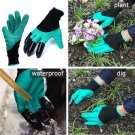 1 Pair Rubber Polyester Garden Gloves With 4 ABS Plastic Claws