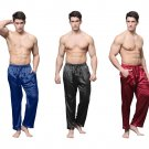 Men Satin Silk Sleep Bottoms Long Lounge Pyjamas Pants Trousers
