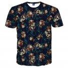 Men's 3D Flower Skulls Short Sleeve T-shirt