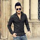 Men Black Denim Long sleeve stand Collar floral Slim Fit Shirt