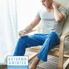 Mens 100% Cotton Sleep Bottoms Simple Printed Sheer Lounge Pyjama Pants