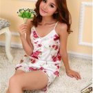 Women Flower Imitated Silk Set Lounge Braces Shirts & Shorts Robe