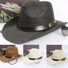 Men sun Trilby Hat Wide Brim Straw Cap