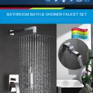 Wall Faucet Brass Set Bronze Rainfall Mixer Tap Chrome Bath Shower