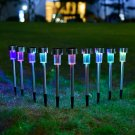 10pcs/lot Stainless Steel Garden Decorative 100% Solar Power Outdoor Lamp