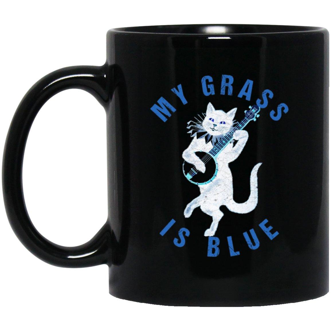 My Grass is Blue Banjo Ca-Bluegrass Fan Black  Mug Black Ceramic 11oz Coffee Tea Cup