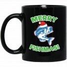 Merry Fishmas Funny Christmas Fishing Black  Mug Black Ceramic 11oz Coffee Tea Cup