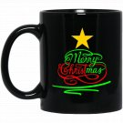 Merry Christmas Christian Jesus Christ Star Tree Black  Mug Black Ceramic 11oz Coffee Tea Cup