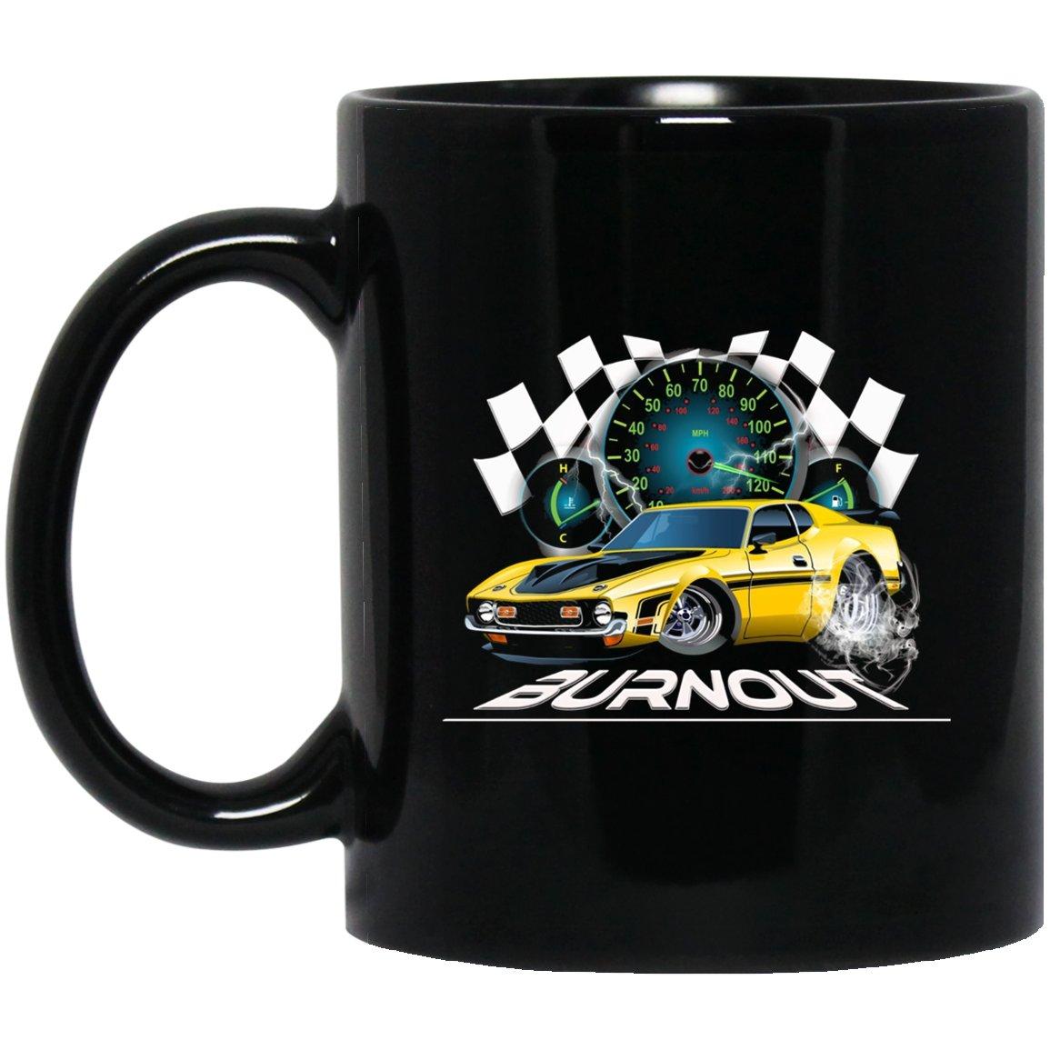 Mens Mens muscle car burnou Black  Mug Black Ceramic 11oz Coffee Tea Cup