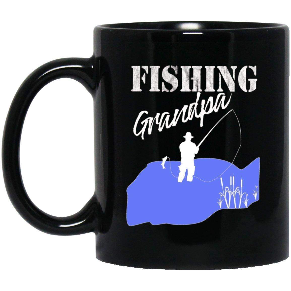 Mens Fishing Grandpa Fisherman Grandfather Gift Black  Mug Black Ceramic 11oz Coffee Tea Cup