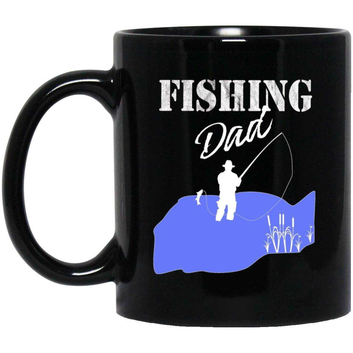 Mens Fishing Dad Fisherman Father Gift Black  Mug Black Ceramic 11oz Coffee Tea Cup
