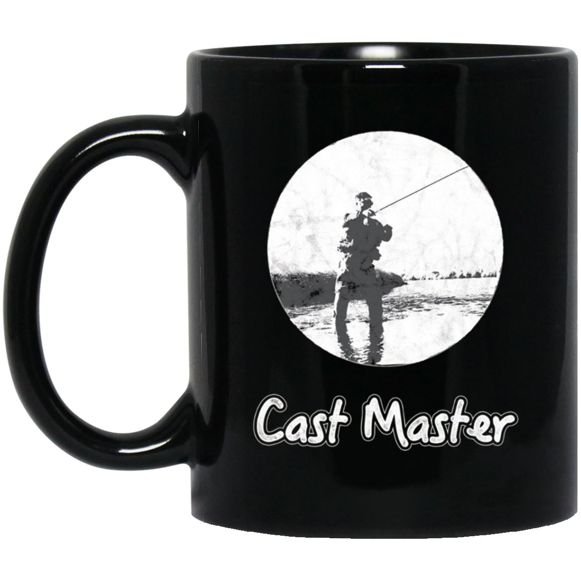 Mens Fishing - Cast Master Vintage Look Black  Mug Black Ceramic 11oz Coffee Tea Cup