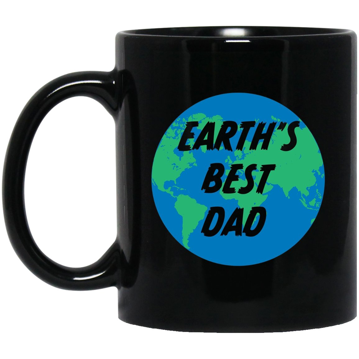 Mens Earth_s Best Dad - Men_s Black  Mug Black Ceramic 11oz Coffee Tea Cup