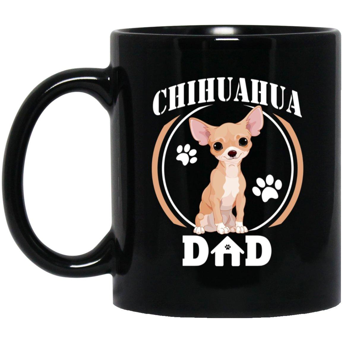Mens Chihuahua Dad Chihuahua Gift For Fathers Day 2018 Black  Mug Black Ceramic 11oz Coffee Tea Cup