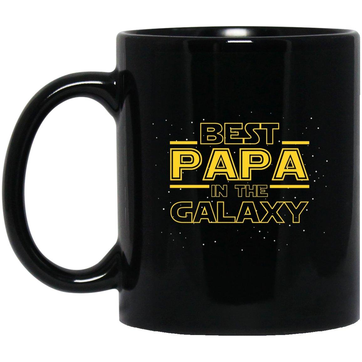 Mens Best Papa in the Galaxy, Funny Papa Gift Black  Mug Black Ceramic 11oz Coffee Tea Cup