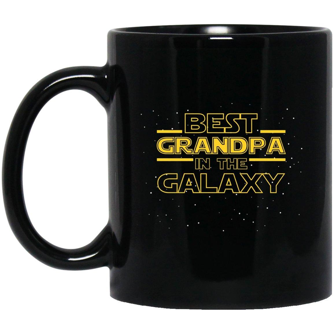 Mens Best Grandpa in the Galaxy, Funny Grandpa Gift Black  Mug Black Ceramic 11oz Coffee Tea Cup