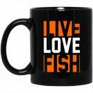Live Love Fish I Love Fishing Black  Mug Black Ceramic 11oz Coffee Tea Cup