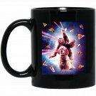 Laser Eyes Space Cat Riding Sloth, Dog - Rainbow Black  Mug Black Ceramic 11oz Coffee Tea Cup