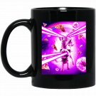 Laser Eyes Space Cat Riding Dog, Pug - Rainbow Black  Mug Black Ceramic 11oz Coffee Tea Cup