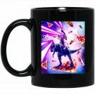 Laser Eyes Space Cat Riding Dog And Dinosaur Black  Mug Black Ceramic 11oz Coffee Tea Cup