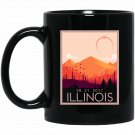 Illinois Vintage Retro Total Solar Eclipse 2017 Black  Mug Black Ceramic 11oz Coffee Tea Cup