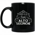 High School Marching Band Guy Alto Saxophone College Marchin Black  Mug Black Ceramic 11oz Coffee Te