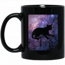 Galaxy Cat National Cat Day for Cat Moms Black  Mug Black Ceramic 11oz Coffee Tea Cup