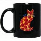 Galactic Space Pizza Kitty Graphic Black  Mug Black Ceramic 11oz Coffee Tea Cup