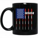 Funny Patriotic Fishing American USA Flag Gift Men Black  Mug Black Ceramic 11oz Coffee Tea Cup
