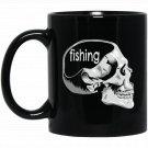 Funny Fishing on the Mind Fishing Lover Skull Novelty Black  Mug Black Ceramic 11oz Coffee Tea Cup