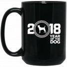 Fox Terrier 2018 Year Of The Dog New Year v1 Black  Mug Black Ceramic 11oz Coffee Tea Cup