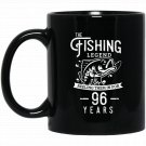 Fishing Legend 96 Years Old Birthday Gift for Fisherman Black  Mug Black Ceramic 11oz Coffee Tea Cup