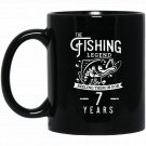 Fishing Legend 7 Years Old Birthday Gift for Fisherman Black  Mug Black Ceramic 11oz Coffee Tea Cup