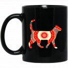 Fire Flower Abstract Cat Design Black  Mug Black Ceramic 11oz Coffee Tea Cup