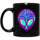 EDM Electronic Dance Techno Neon Alien Rave Black  Mug Black Ceramic 11oz Coffee Tea Cup