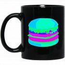 EDM Cheese Burger EDM Techno Dance Neon Rave Black  Mug Black Ceramic 11oz Coffee Tea Cup