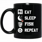 Eat, Sleep, Fish, Repeat! Funny Fishing Black  Mug Black Ceramic 11oz Coffee Tea Cup
