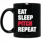 Eat Sleep Pitch Repeat Baseball Funny Baseball Black  Mug Black Ceramic 11oz Coffee Tea Cup