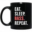 EAT SLEEP BASS REPEAT Funny Bass Fishing Black  Mug Black Ceramic 11oz Coffee Tea Cup