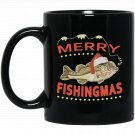 Detailed Bass Drawing For Christmas Holiday Fishing Black  Mug Black Ceramic 11oz Coffee Tea Cup