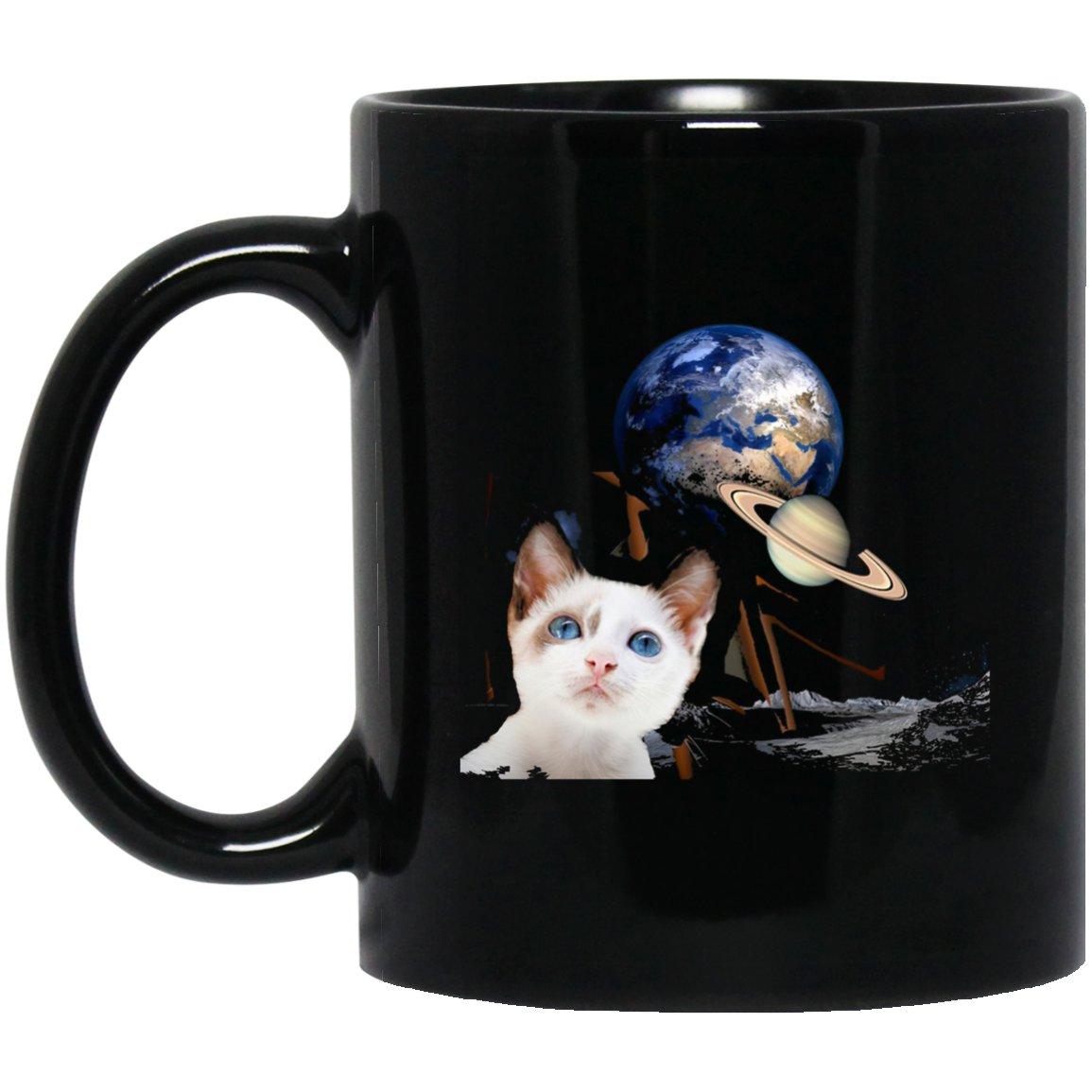 Cute Kitten Earth Planets Outer Space Black  Mug Black Ceramic 11oz Coffee Tea Cup