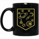 Cool Planets Rocket Stars Moon Pocket Space Black  Mug Black Ceramic 11oz Coffee Tea Cup