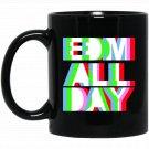 Cool EDM - Neon Anaglyph Style Rave - White Ink Black  Mug Black Ceramic 11oz Coffee Tea Cup