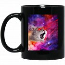 Cool crazy angry Cat with laser eyes in space galaxy Black  Mug Black Ceramic 11oz Coffee Tea Cup