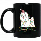 Christmas Lights Maltese Santa Maltese Black  Mug Black Ceramic 11oz Coffee Tea Cup