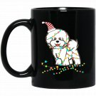 Christmas Lights Bichon Frise Santa Bichon Frise Black  Mug Black Ceramic 11oz Coffee Tea Cup