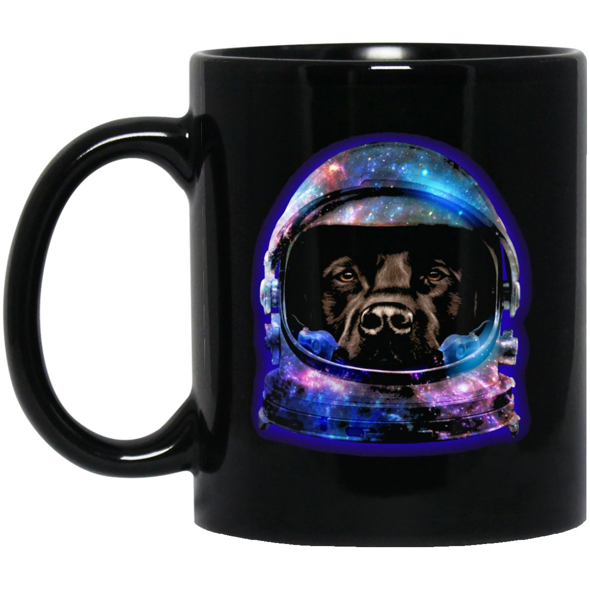 Brown Labrador Dog in Space Galaxy Astronaut Helmet Black  Mug Black Ceramic 11oz Coffee Tea Cup