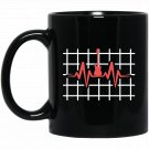 Bass Player Guitar Bass Player Heartbeat Black  Mug Black Ceramic 11oz Coffee Tea Cup