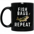 Bass Fishing s Fish Repeat Washed Out Black  Mug Black Ceramic 11oz Coffee Tea Cup
