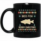 Bass Fish Christmas , Ugly Christmas Sweater s Black  Mug Black Ceramic 11oz Coffee Tea Cup